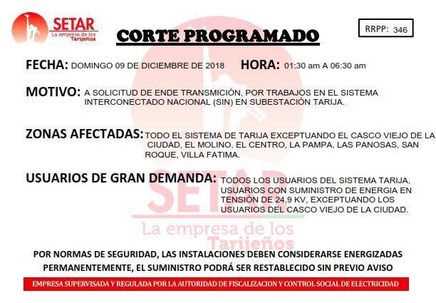 La Empresa Nacional de Electricidad realizará un corte general de energía en Tarija