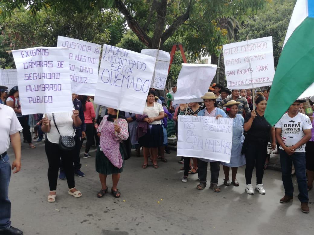 Comunarios de San Andrés piden seguridad