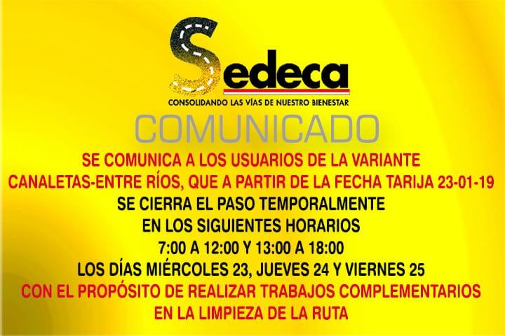 Continua la restricción vehicular en la variante Canaletas-Entre Ríos