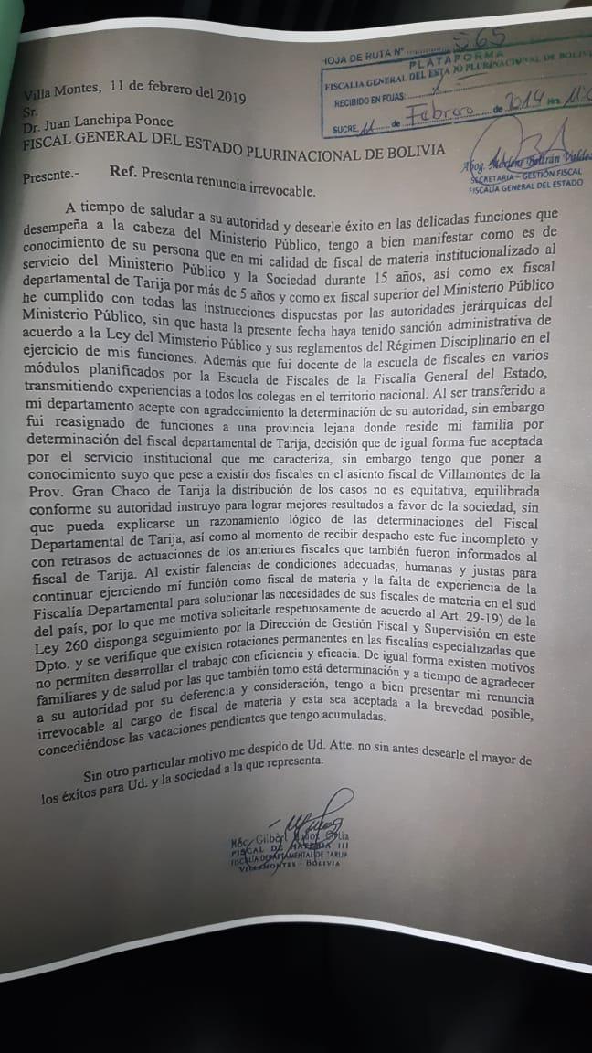 """Gilbert Muñoz se va """"irrevocablemente"""" de la Fiscalía. (Carta completa)"""