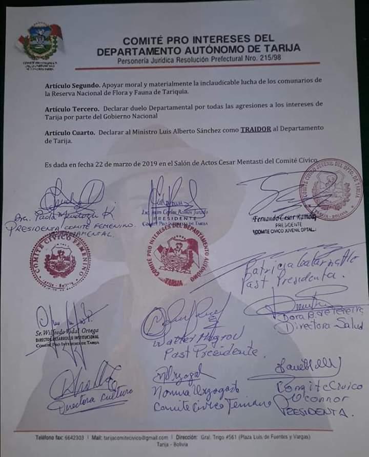 Comité Cívico determina paro cívico movilizado el miércoles 27 de marzo por Tariquía