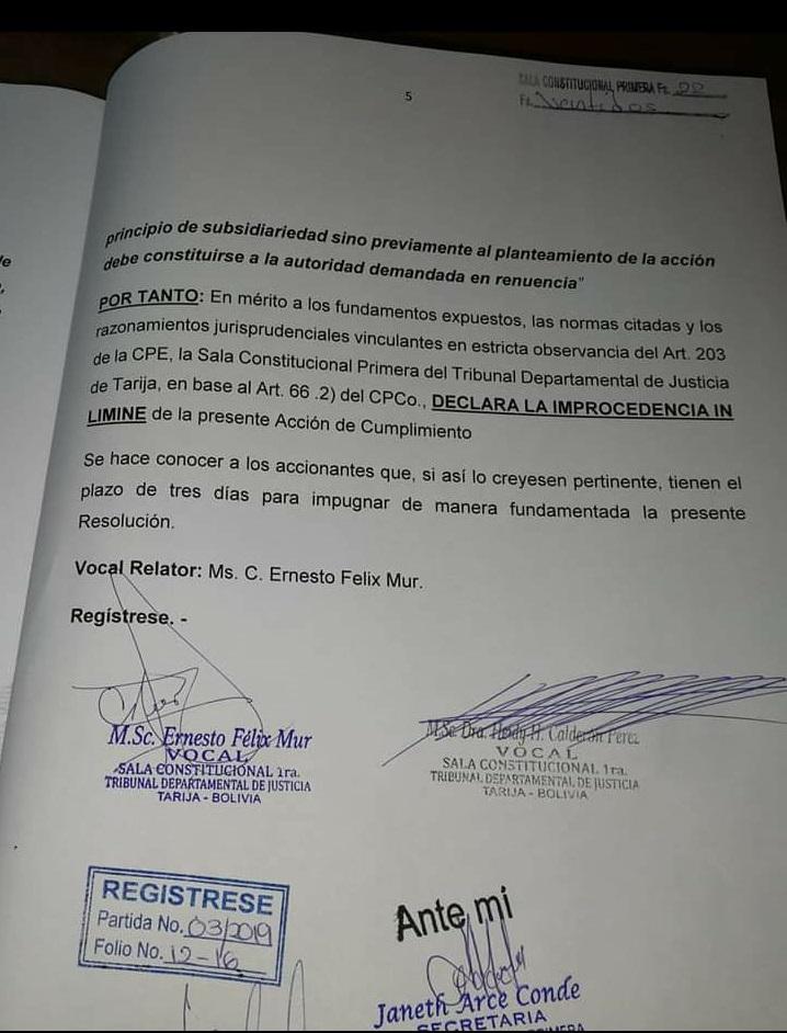TDJ frena recurso contra exploración en Tariquía; denunciantes lo subsanarán