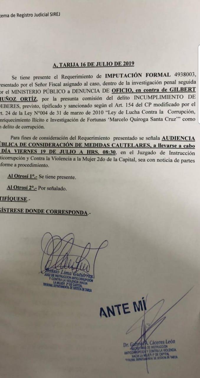 Tensión en el Ministerio Público: Imputan al exfiscal Departamental de Tarija Gilbert Muñoz