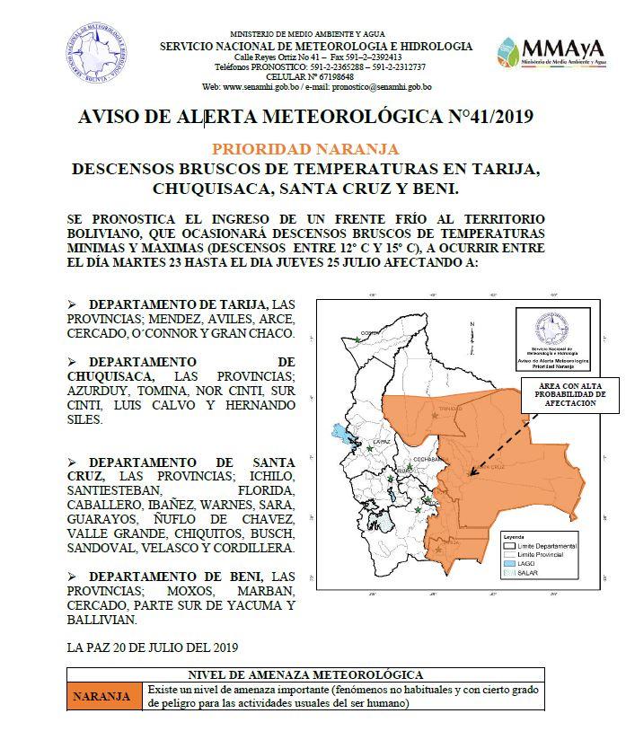 Temperatura bajará hasta 3 grados bajo cero en Tarija