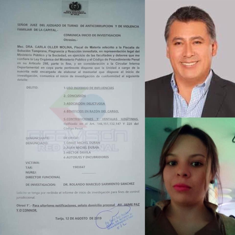 Fiscalía de Tarija inicia proceso en contra de consejero Omar Michel y hermano