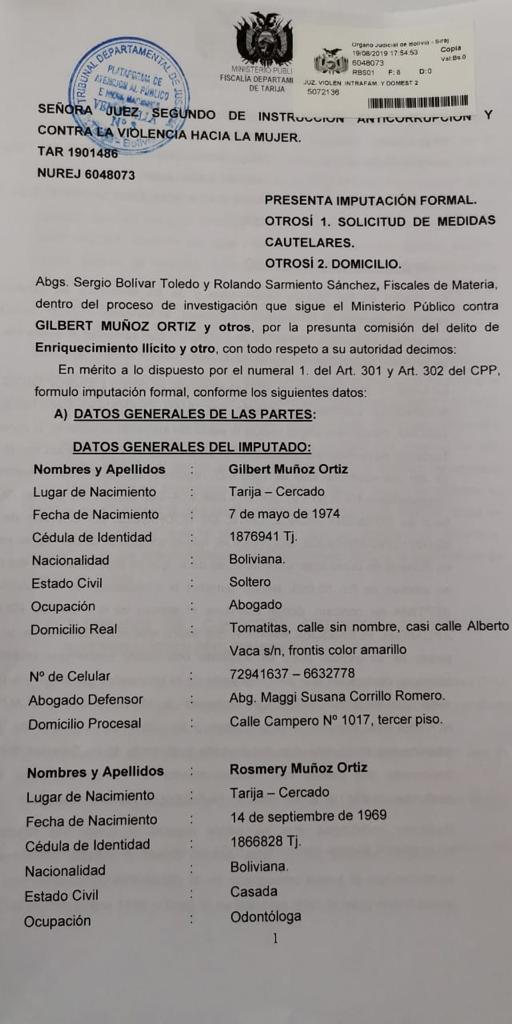 Fiscalía de Tarija presenta imputación formal contra Gilbert Muñoz