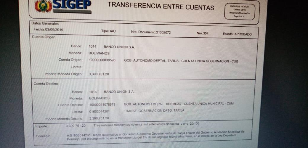 Bermejo se cobra otros 3,3 millones de bolivianos vía débito automático