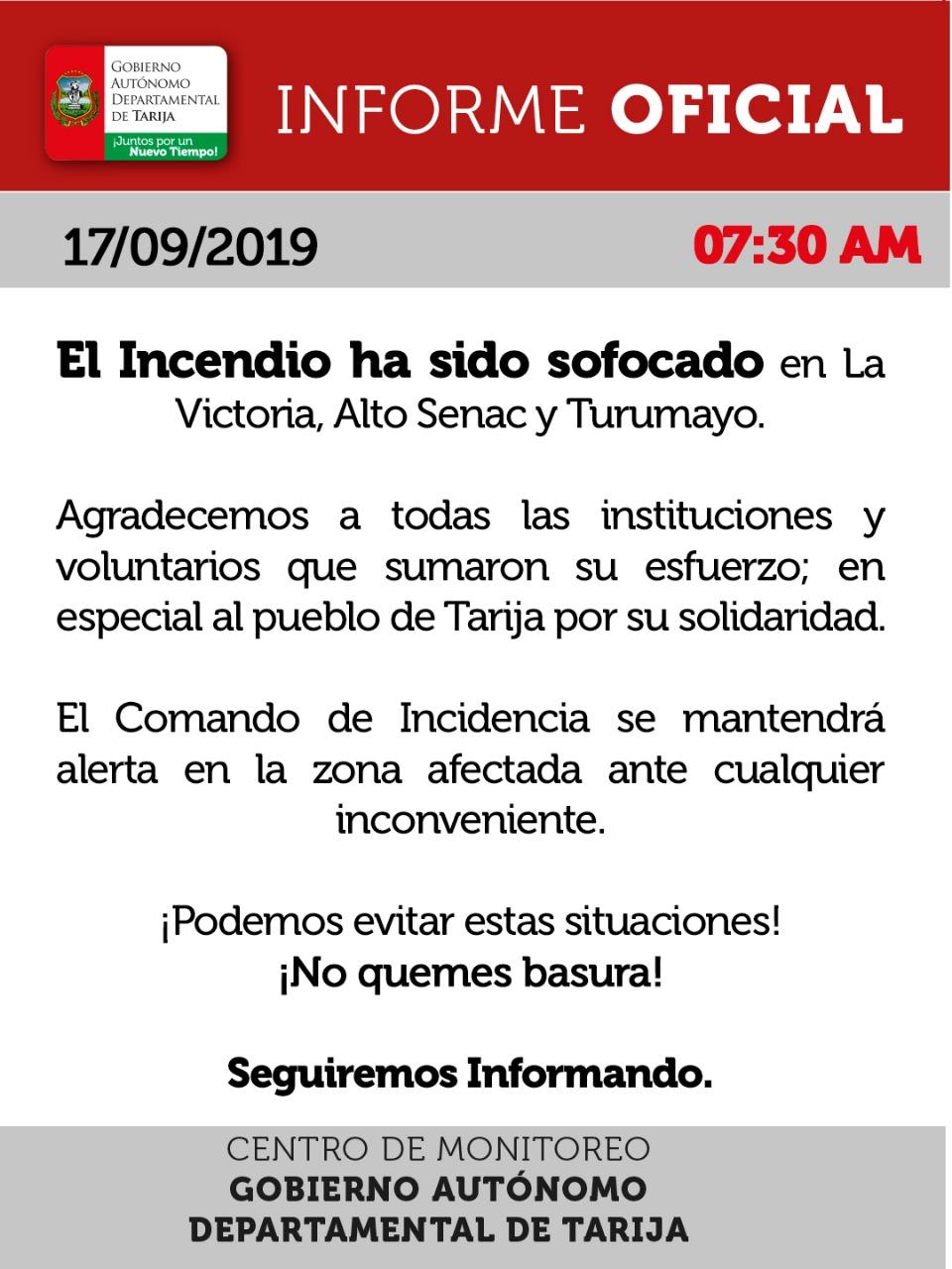 """OFICIAL: """"Ya no existen focos de calor"""", el incendio fue controlado en Tarija"""