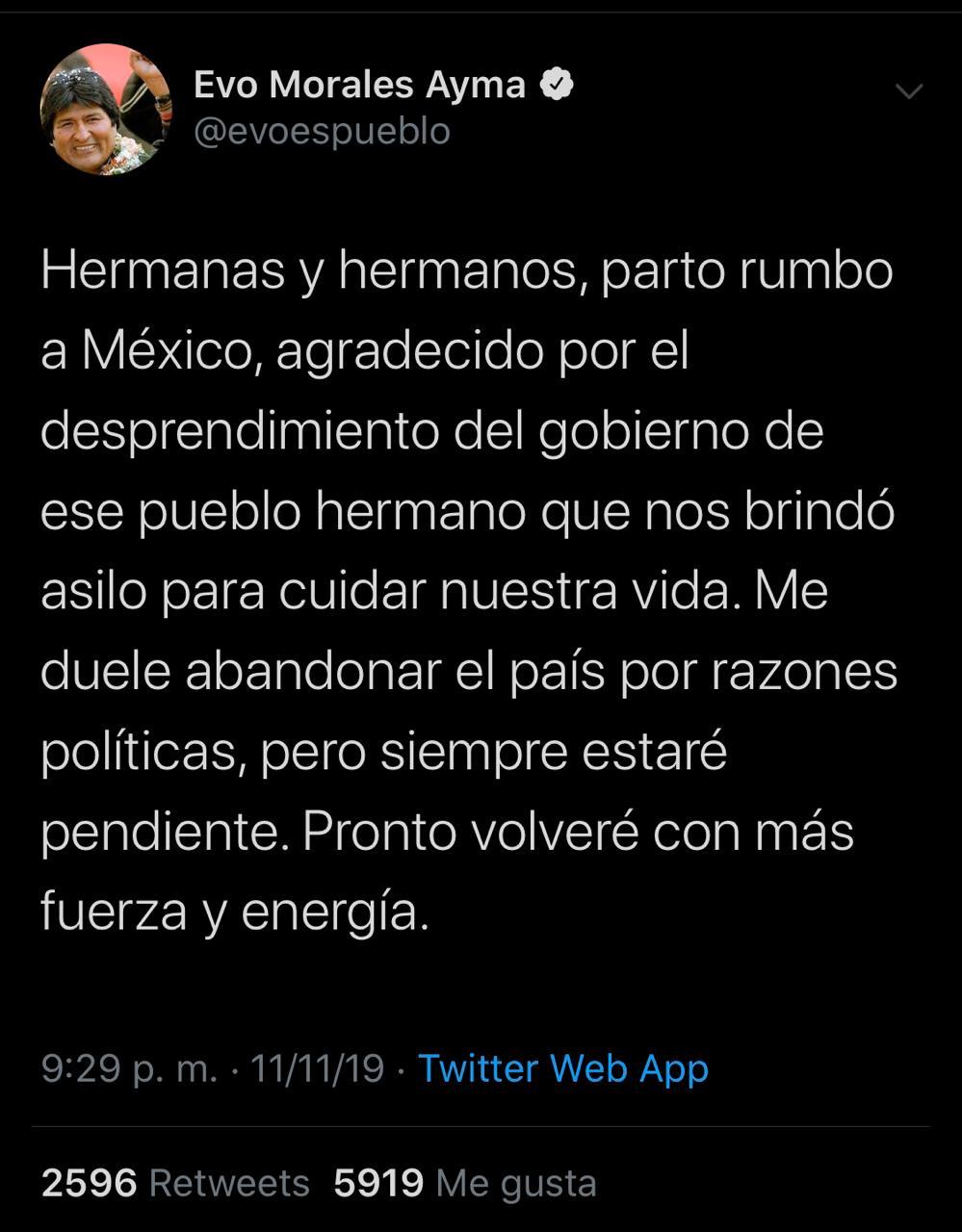 Oficial: Evo parte a México