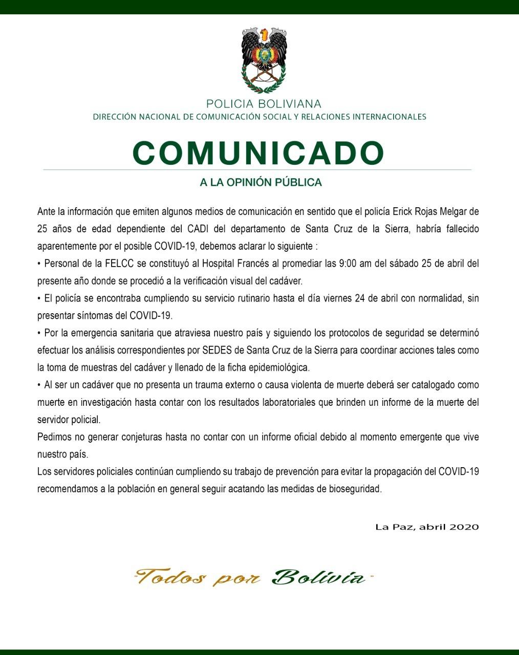 Murillo descarta muerte por coronavirus en efectivo de la policía en Santa Cruz