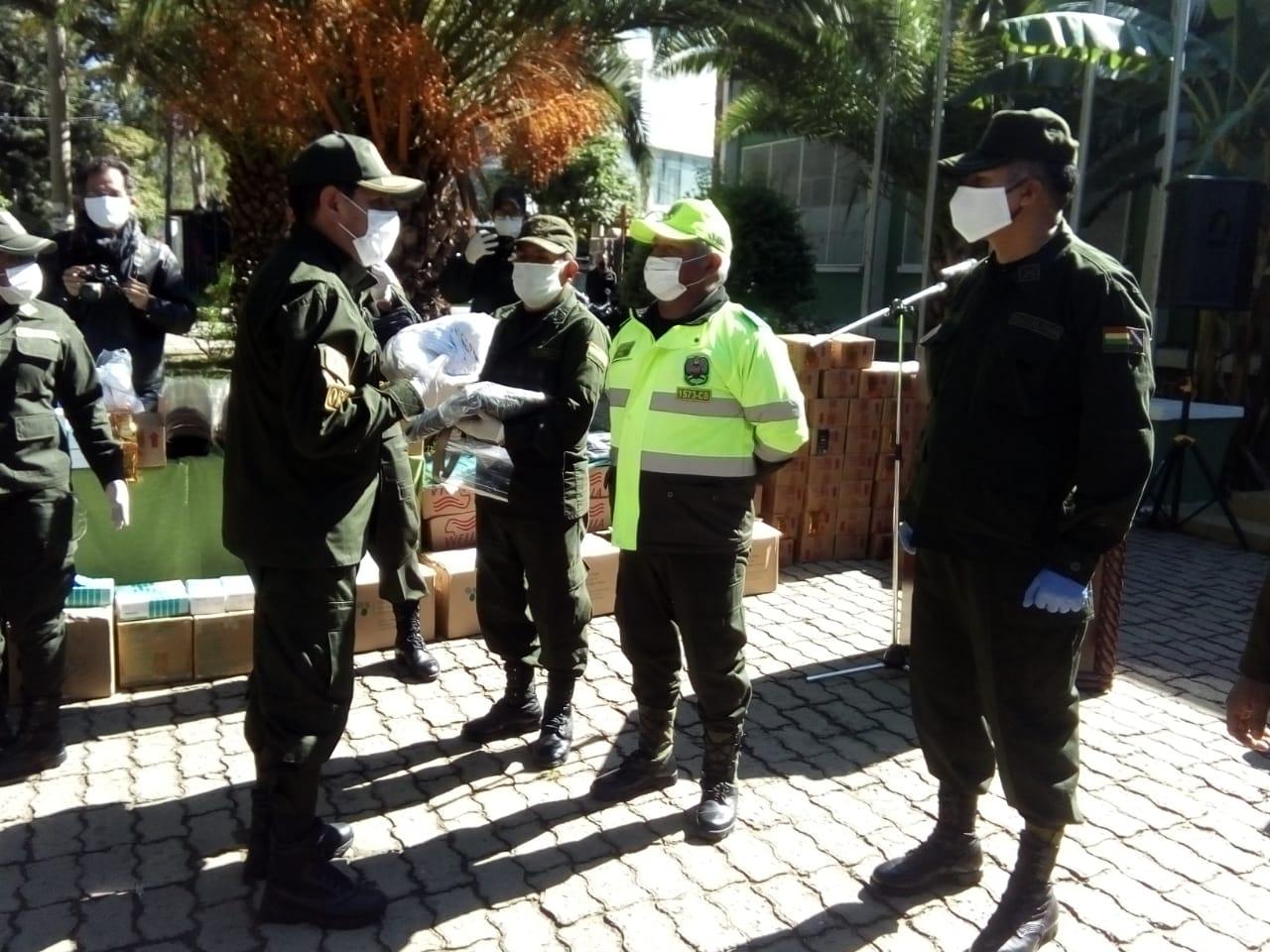 Policía en Tarija recibe insumos de bioseguridad