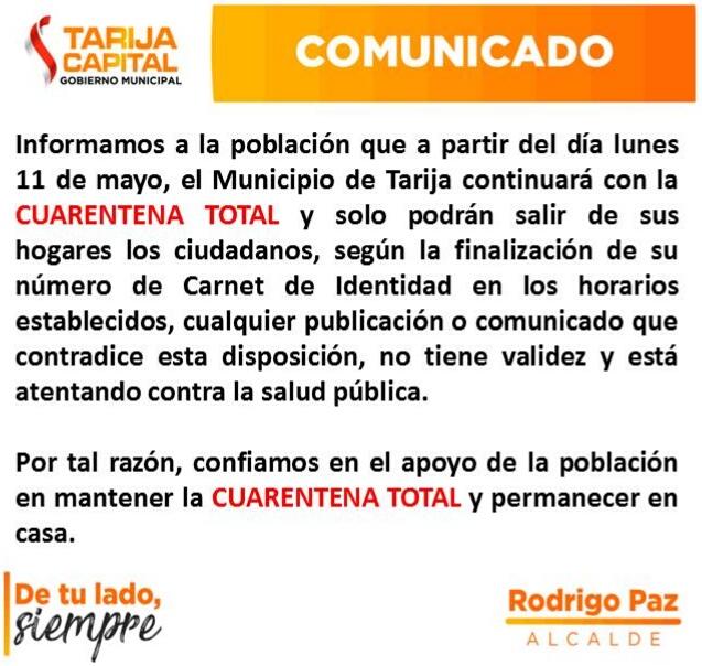 Municipio de Cercado, en Tarija, se mantiene en cuarentena total