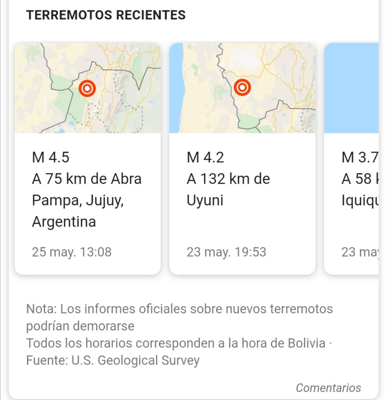 Sismo de 4.6 Richter al sur de Bolivia se siente en Tarija a las 3:50 a.m.