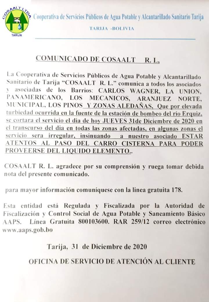 Comunicado de Cosaalt.